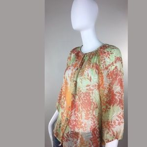 Sundance Catalog Sheer Silk Peasant Blouse Sz S